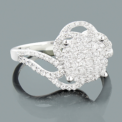 Ladies Diamond Engagement Ring 0.66ct 14K White Gold Main Image