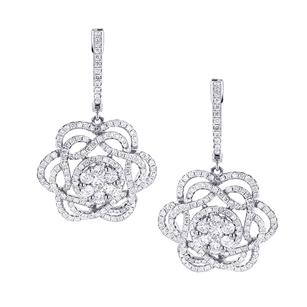 Ladies Diamond Flower Drop Earrings 2.9ct 14k Gold Unique Design Main Image