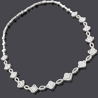Ladies Diamond Flower Necklace 14K 7.32ct