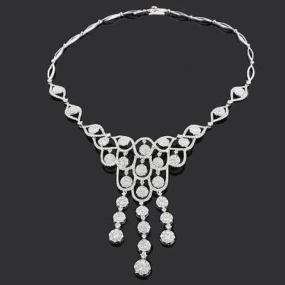 Ladies Diamond Necklaces: Designer Chandelier Necklace 11.37ct 18K Luccello