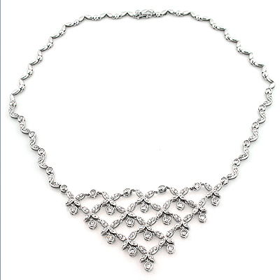 Ladies Diamond Necklaces: Designer Flower Necklace 4.5ct 14K White Gold Main Image