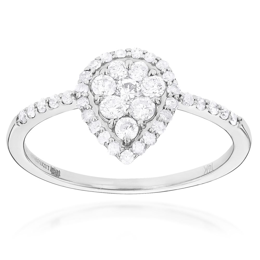 Ladies Diamond Rings 14K Cluster Diamond Ring 0.62ct White Image