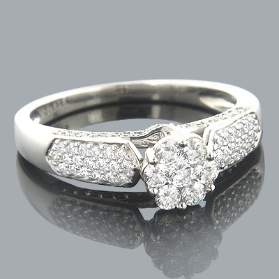 Ladies Diamond Rings 14K Cluster Diamond Ring 0.84ct