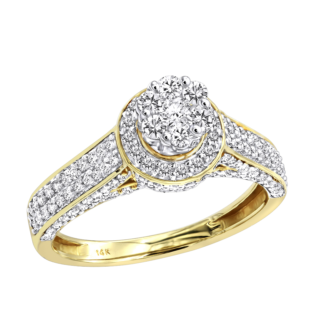 Affordable Cluster Diamond Engagement Ring for Women w Halo 0.9ct 14k Gold Yellow Image