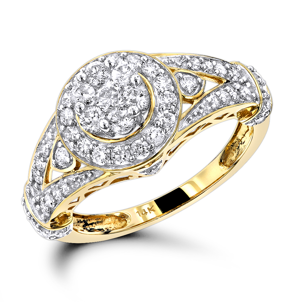 Ladies Diamond Rings 14K Cluster Diamond Ring 1.0 ct Yellow Image