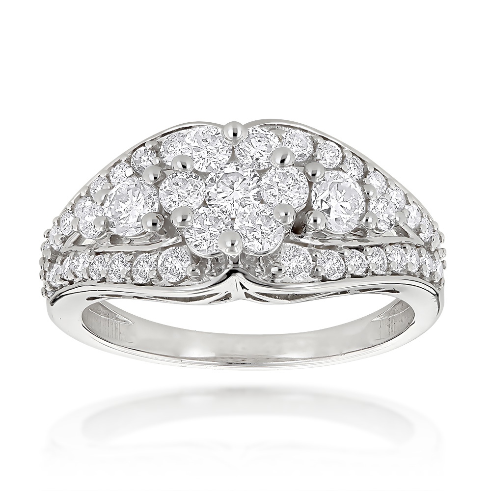 Ladies Diamond Rings 14K Cluster Diamond Ring 1.50ct White Image