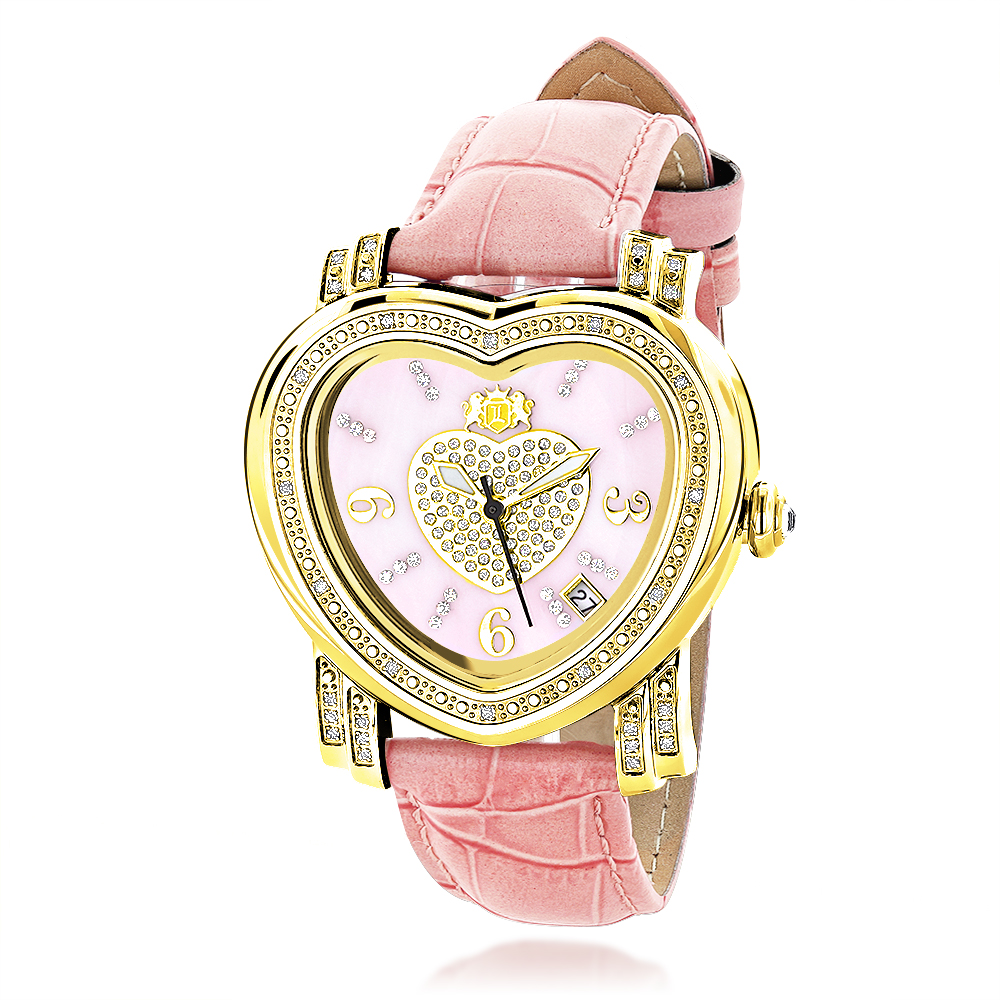Ladies Diamond Watch 0.30ct Luxurman Pink Heart Main Image