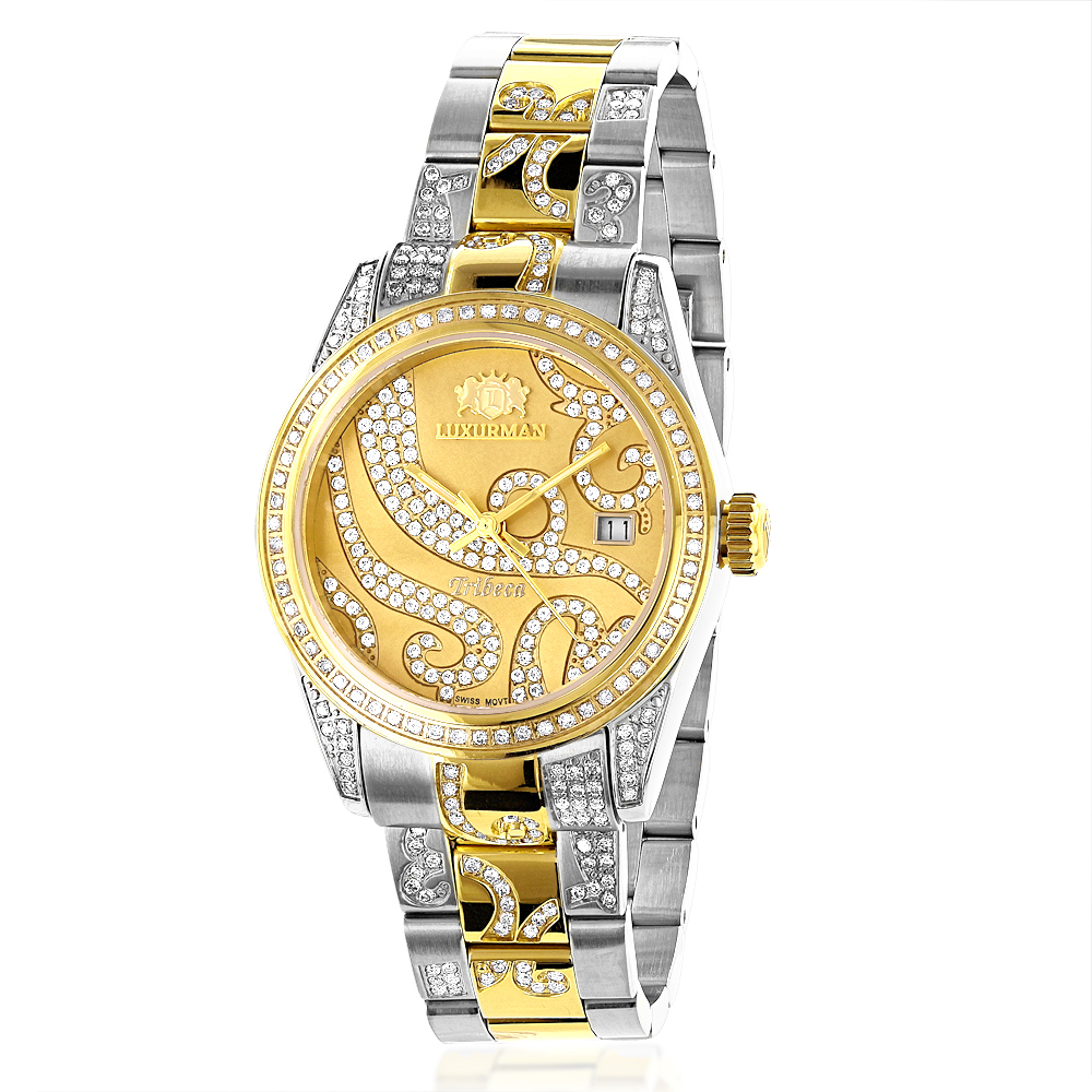 Ladies Diamond Watch 18k White Yellow Gold Pltd Two-Tone Luxurman Tribeca ladies-diamond-watch-18k-white-yellow-gold-pltd-two-tone-luxurman-tribeca_1
