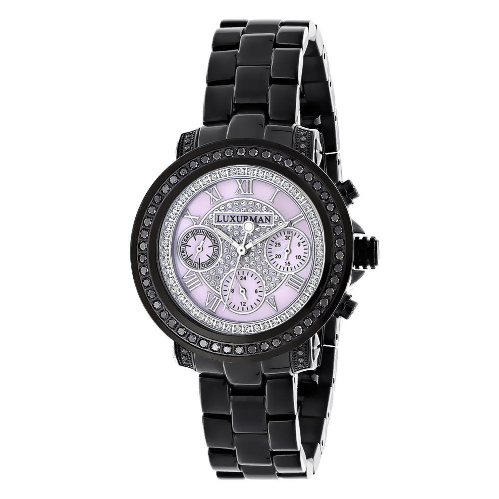 Ladies Diamond Watches: Luxurman Black Diamond Watch 2.15 carats Main Image