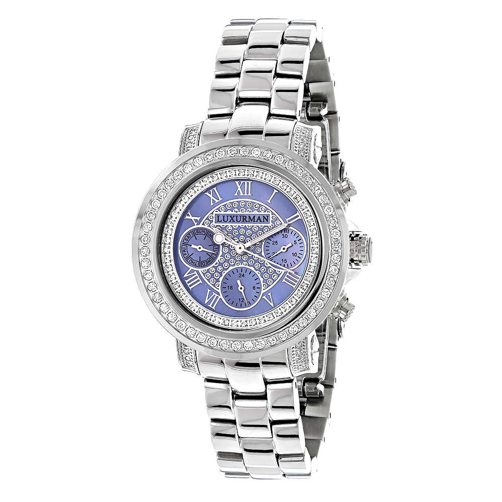 Ladies Diamond Watches: Luxurman Montana Blue MOP Watch 2ct Main Image