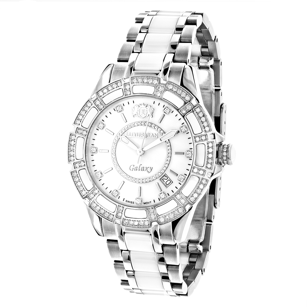 Ladies Diamond Watches: Luxurman White Ceramic Watch 1.25ct MOP Galaxy Main Image
