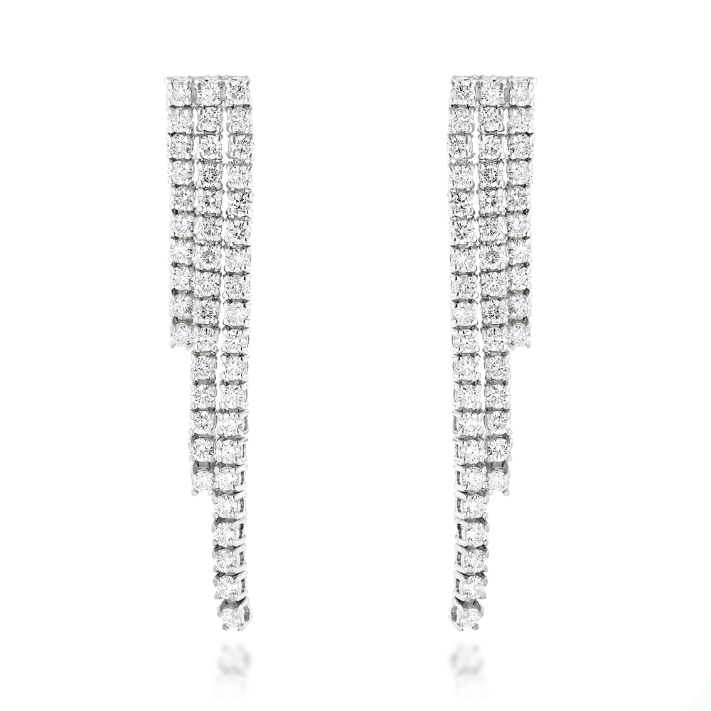 Ladies Earrings 14K Gold String Diamond Earrings 3.78ct White Image