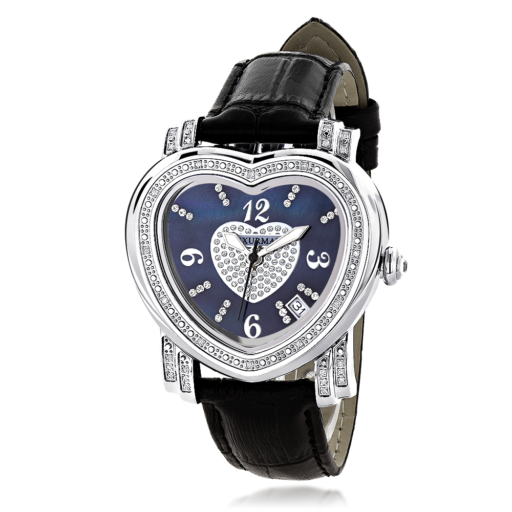 Ladies Diamond Watch Luxurman Blue Heart