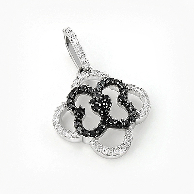 Ladies Flower Pendant with Black and White Diamonds 0.28ct 14K Gold Main Image