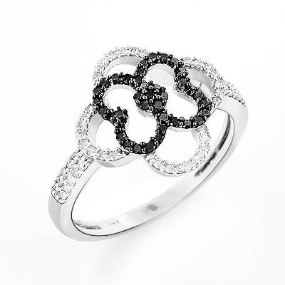 Ladies Flower Ring with Black and White Diamonds 0.31ct 14K Gold ladies-flower-ring-with-black-and-white-diamonds-031ct-14k-gold_1