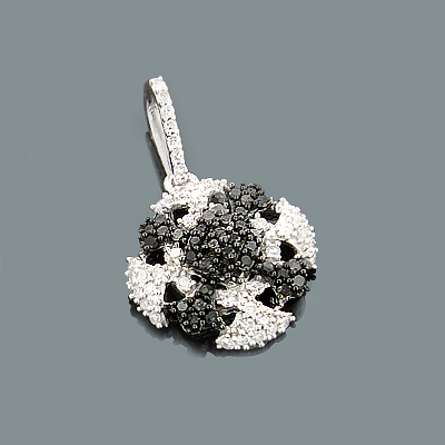 Ladies Gold Pendant with White Black Diamonds 0.30ct 14K Gold Main Image