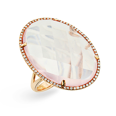Ladies Large Rose Quartz Oval Ring with Diamonds 14K
