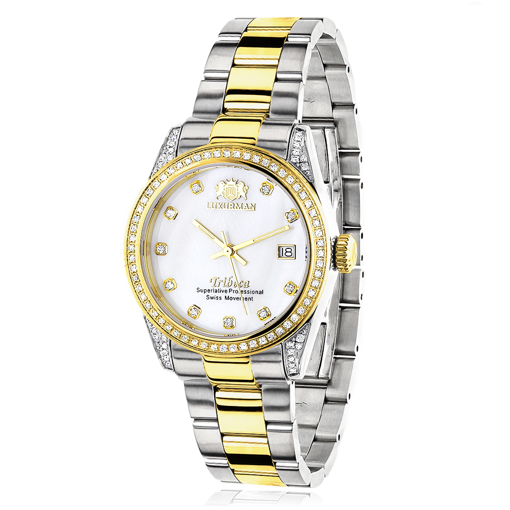 Ladies Luxurman Tribeca Two Tone Yellow Gold Plated Diamond Watch 1.5ct Main Image