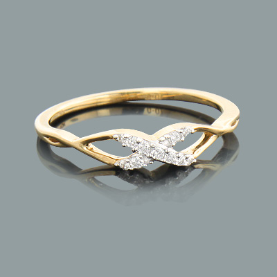 Thin Ladies Pave Diamond Crossover X Ring 0.09ct 10K Gold  ladies-pave-diamond-crossover-x-ring-009ct-10k-gold_1