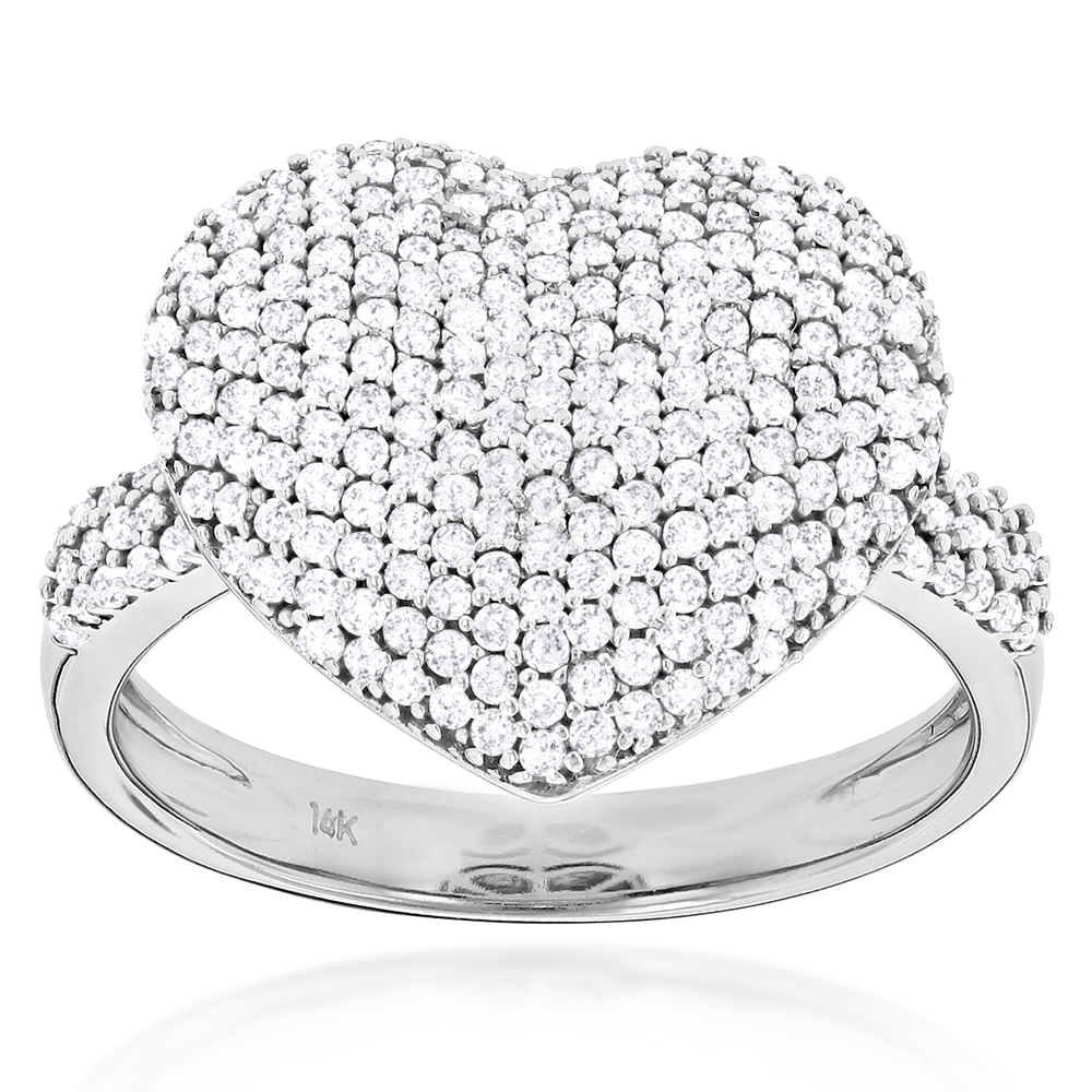 Ladies Pave Diamond Heart Ring 1 carat 14K Yellow Rose White Gold wh
