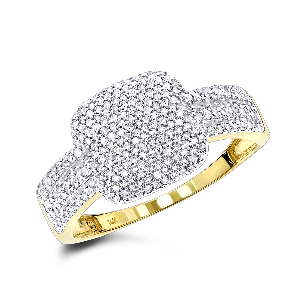 Ladies Pave Diamond Ring 14K Gold 0.6ct Yellow Image