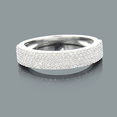 Thin Ladies Pave Diamond Wedding Band 0.54ct 14K Gold Main Image