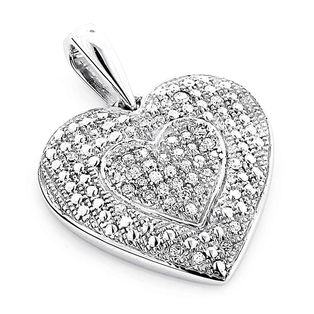 Ladies Pendants: 10K Gold Diamond Heart Pendant 0.12ct