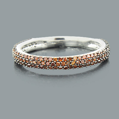 Thin Ladies Red Diamond Ring 0.51ct 14K Stackable Main Image