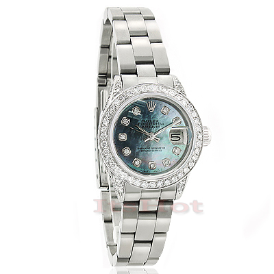 Ladies Rolex Datejust Diamond Watch Custom Made 4.75ct Main Image