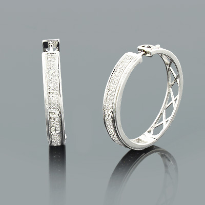 Ladies Round Diamond Hoop Earrings 0.72ct 10k Yellow Gold Main Image