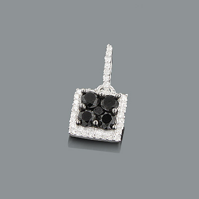 Ladies Silver Pendant with Black and White Diamonds 0.65ct Ladies Silver Pendant with Black and White Diamonds 0.65ct