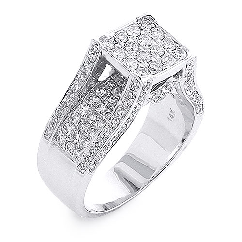 Ladies Square Diamond Engagement Ring 1.6ct 14K
