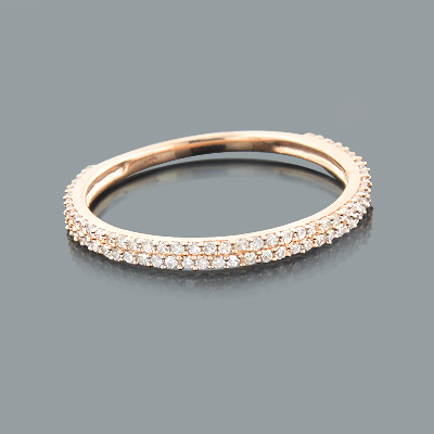 Ladies Thin Diamond Ring 0.35ct 14K Gold Stackable Main Image