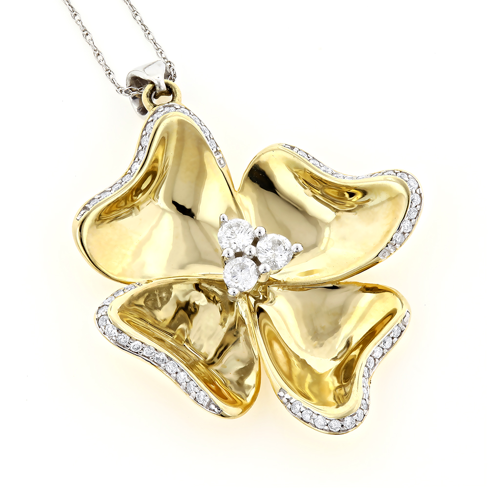 Ladies Unique Gold Diamond Flower Pendant 0.64ct 10K Main Yellow Image