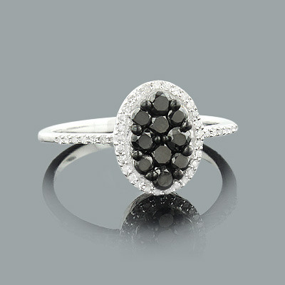 Ladies White and Black Diamond Ring 0.75ct Sterling Silver Main Image