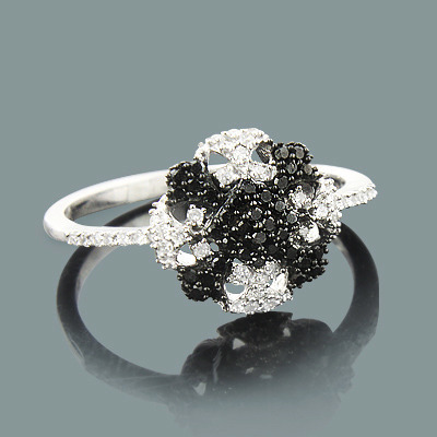 Ladies White Black Diamond Ring 0.31ct 14K Gold