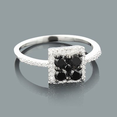 Ladies White Black Diamond Ring 0.75ct Sterling Silver Main Image