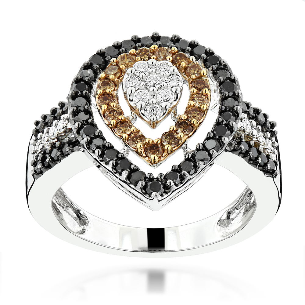 Ladies White Brown Black Diamond Ring 1.11ct 14K Gold  White Image