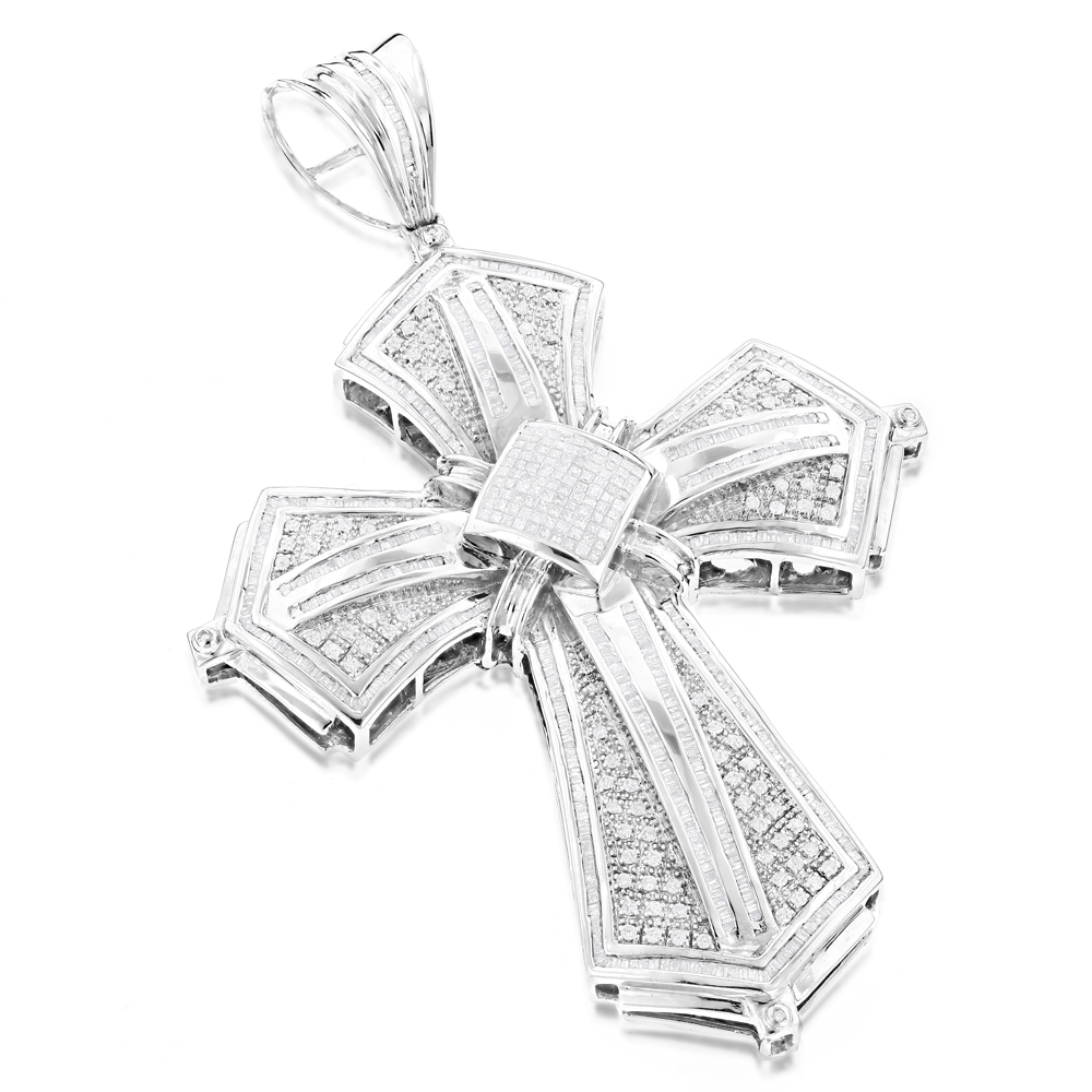 Large Hip Hop Style 14K White Gold Mens Diamond Cross Pendant 5.96ct
