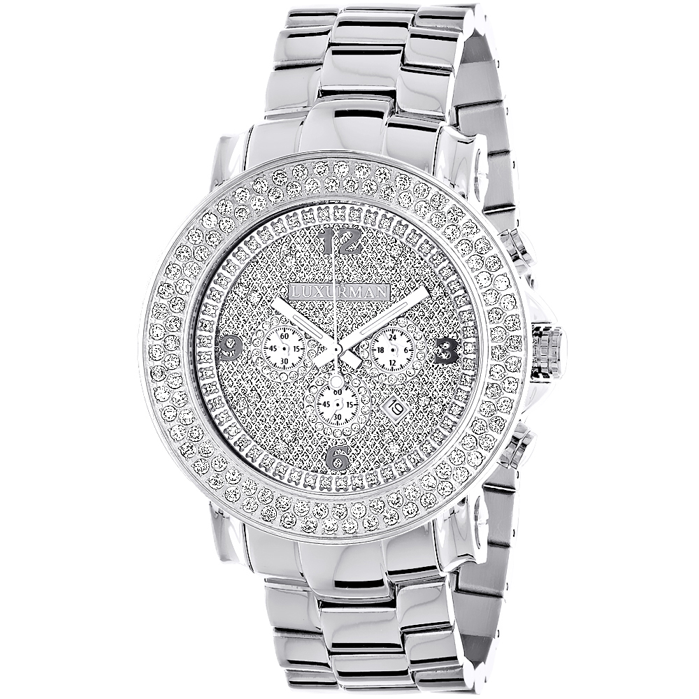 Large 2 Row Diamond Bezel Luxurman Watch 5ct New Arrival Oversized Main Image