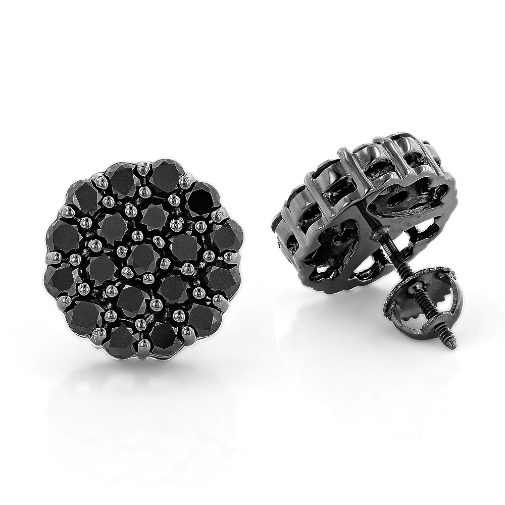 Large Black Diamond Cluster Earrings 3.5 ct 10K Gold Studs Main Image