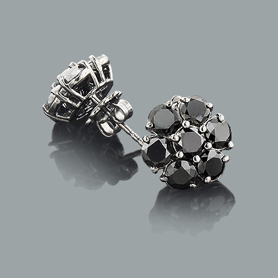 Large Black Diamond Cluster Earrings 5.50ct 14K Main Image