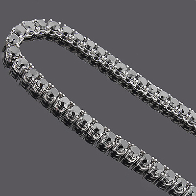 Large Black Diamond Necklace Chain 151.50ct 14K Main Image