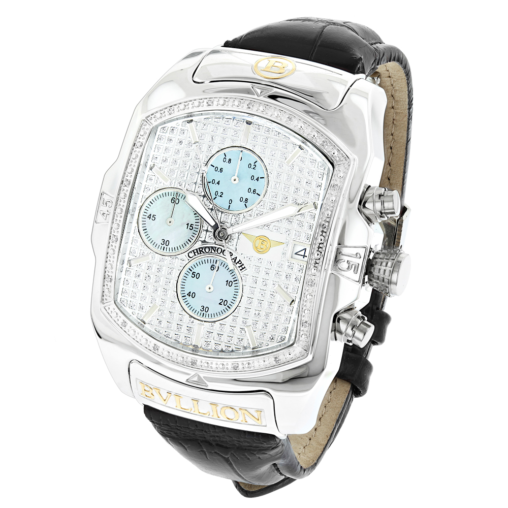 Large Bubble Watches: Luxurman Bullion Diamond Watch For Men w Chronograph Main Image