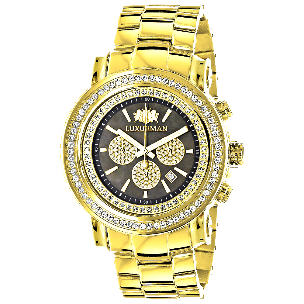Large Diamond Bezel Watch 2.5ct Luxurman Escalade Yellow Gold Plated Main Image