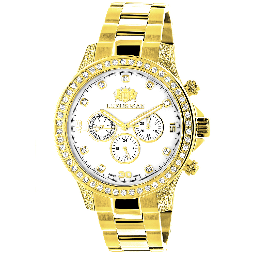 Large Diamond Bezel Watch by Luxurman 2.3ct Mens Yellow Gold Plated Liberty Main Image