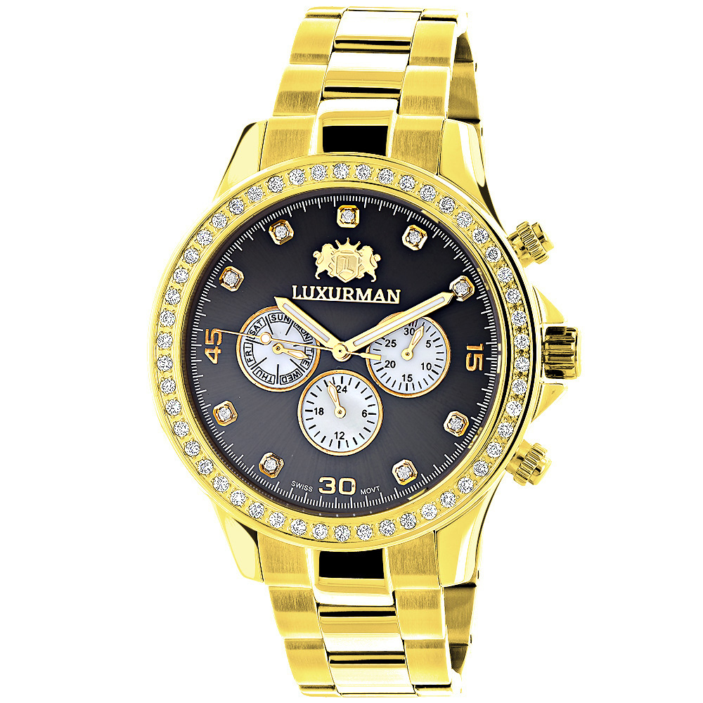 Large Diamond Bezel Watch by Luxurman 2ct Yellow Gold Tone Watches Main Image