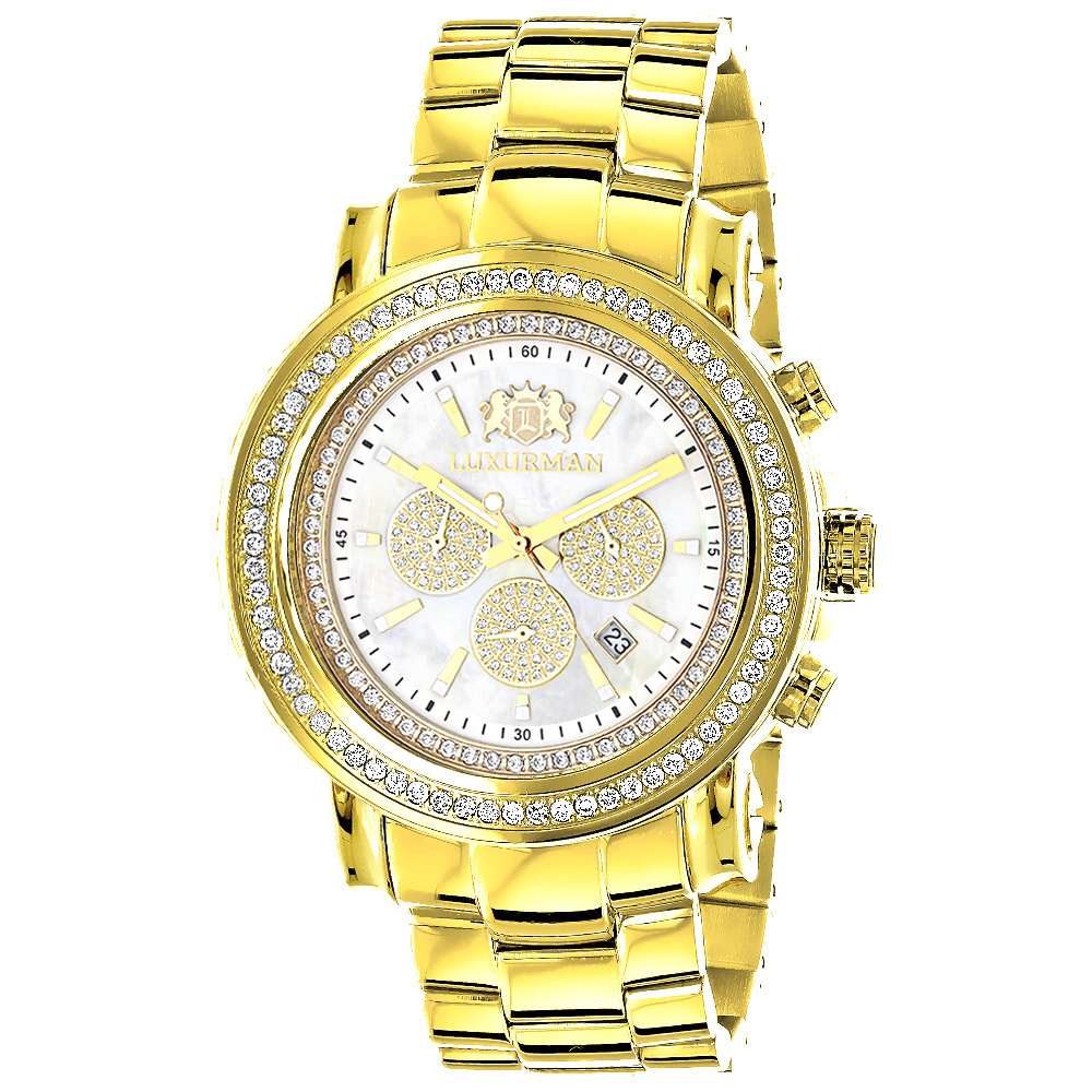 Large Diamond Bezel Watch for Men Yellow Gold Plated 2.5c Luxurman Escalade Main Image