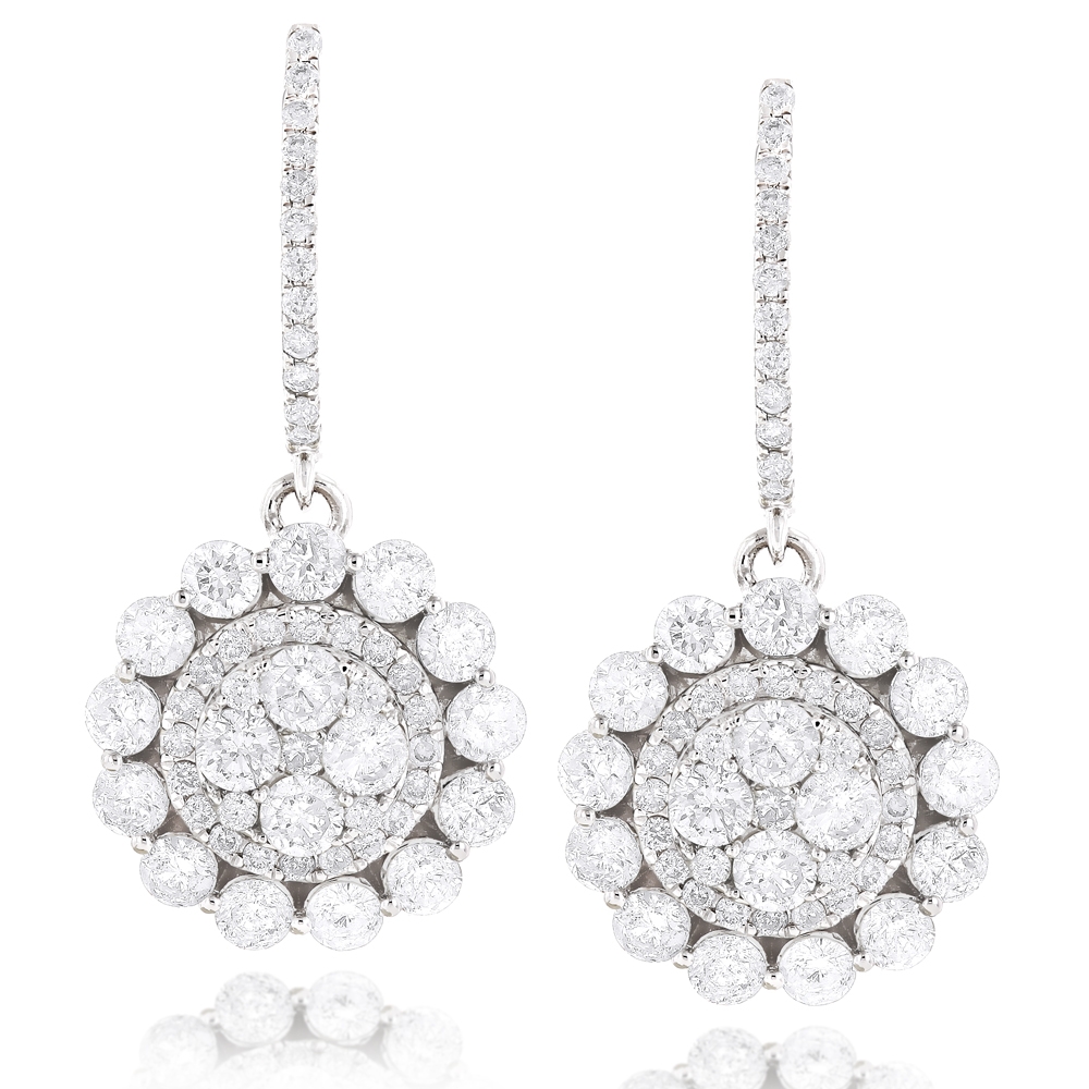 Large Diamond Drop Earrings Sale 3.8ct 14k Gold Round Diamonds White Image
