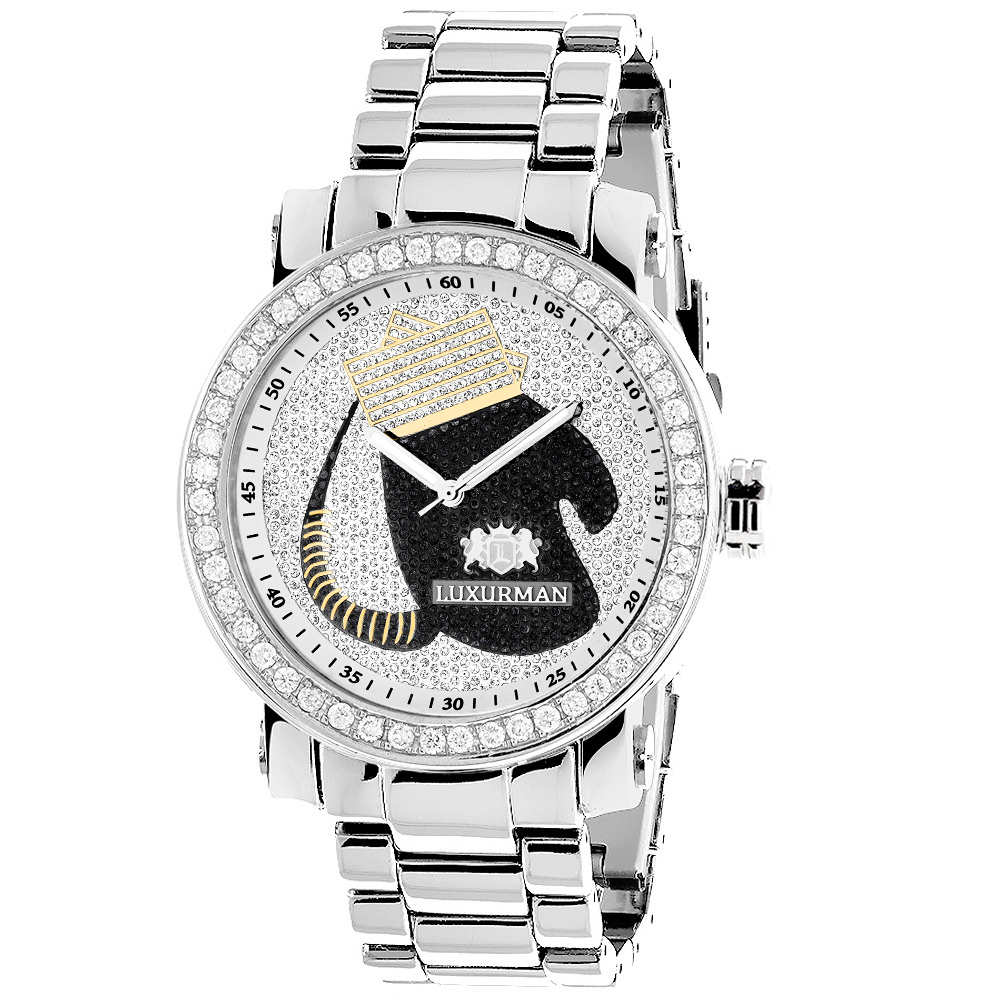 Large Diamond Mens Watch with Boxing Gloves 4 CT Luxurman Southpaw Edition Main Image